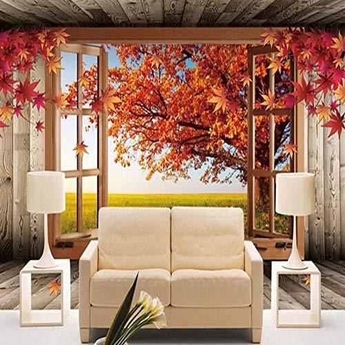 3D vliesbehang personeel artistiek schilderij 3D landschap fotobehang natuurlijke herfst landschap gele bladeren muurschildering doe-het-zelver slaapkamer tv-achtergrond 200 x 140 cm.