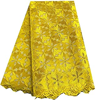 African Lace Fabric Soft Skin Healthy Big Floral Embroidery Pure White French Lace Guipure Solid (Color : Yellow, Size : 5YARDS)