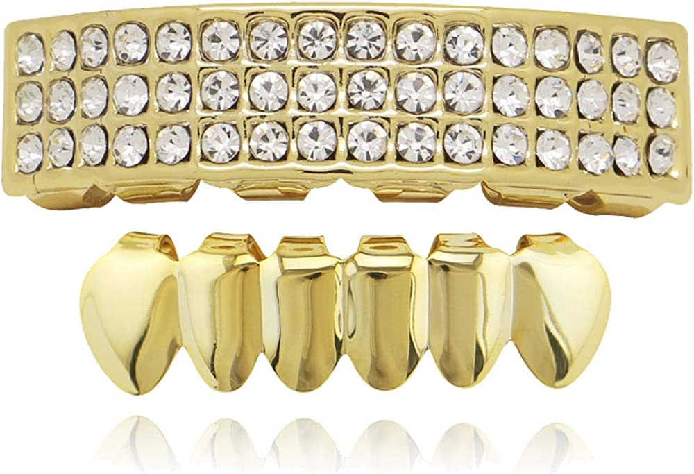 OOCC 18K Gold Plated Iced 3 Row 6 Tooth Grillz Hip Hop Teeth Grillz Caps Top and Bottom Set for Your Teeth