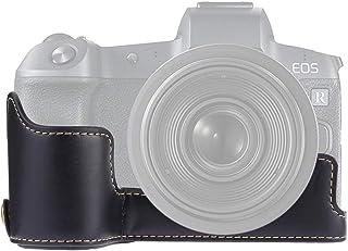ASDHOI Accesorios de la cámara y cómodo 1/4 Pulgada de Rosca de la PU de la cámara del Cuero La Mitad de Caso Base for Canon EOS R (Color : Negro)