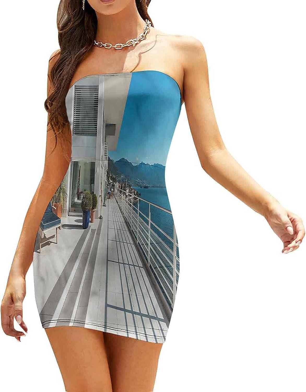 Women's Sleeveless Sexy Tube Top Dress Nested Circles Overlap Dresses