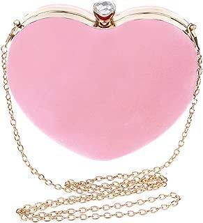 Heart Shaped Evening Purse Velvet Clutch Purse Solid Color Evening Bag