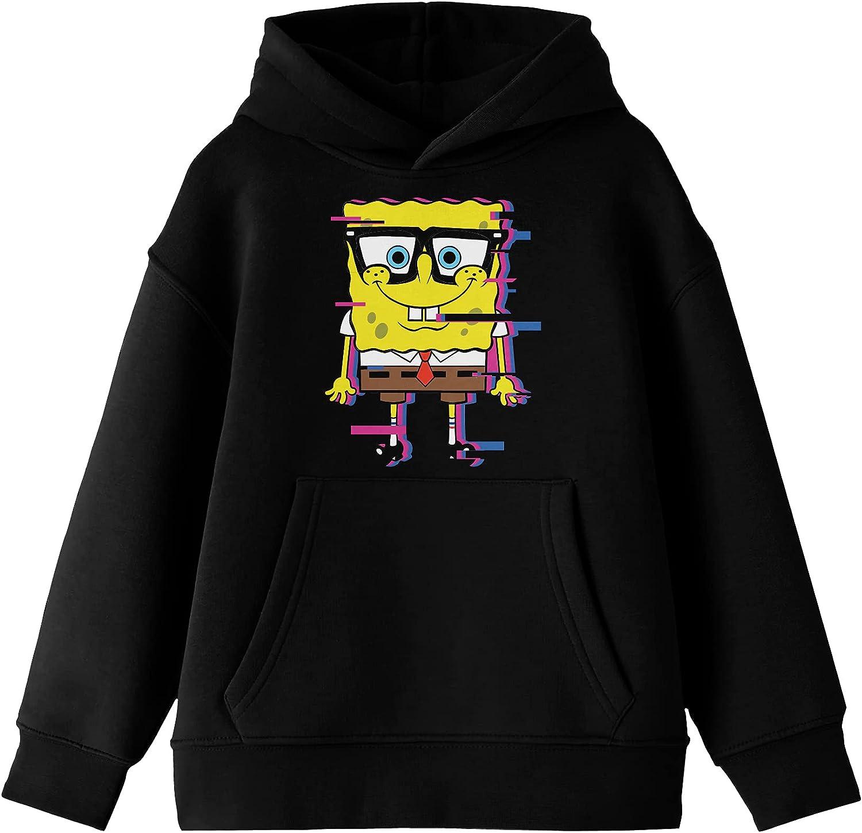 The Biorld SpongeBob Glitch Effect Boys Black Hoodie