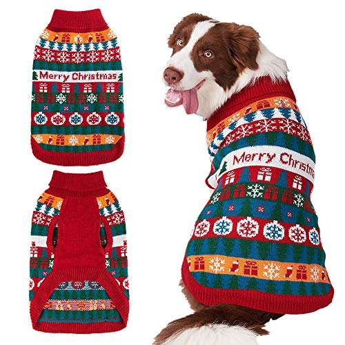 Mihachi Christmas Dog Sweater - Winter Clothes with Colorful Snowflake Patterns Soft Knit Keep Warm-M