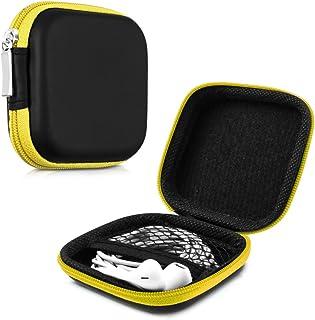 kwmobile Funda protectora rígida para auriculares In-Ear - Estuche protector duro para audífonos con almohadillas en amarillo
