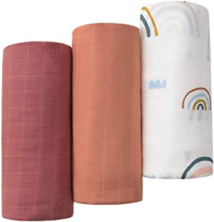 Little Jump 3 Pack Muslin Swaddle Blankets Solid Colors, Large 47 x 47 inches Muslin Blankets for Girls & Boys, Baby Recei...