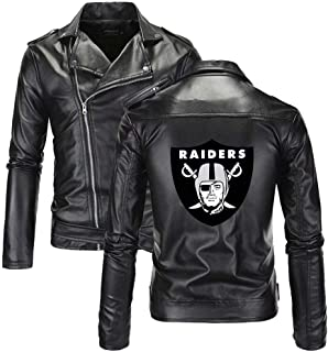 Men's Leather Jackets with Football Team Logo Cool Motorcycle Zip Up PU Punk Outwear Fitted Slim Coat