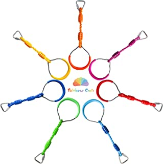 Rainbow Craft Swing Bar Rings - Colorful Backyard Outdoor Gymnastic Ring, Ninja Ring, Monkey Ring, Climbing Ring and Obstacle Ring- 7 pcs Pack