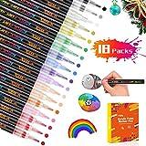 Peinture Acryliques Stylos 18 couleurs 0.7mm Marqueurs Peinture Acrylique Waterproof+permanent+séchage rapide,pour la pierre,verre,métal,céramique,album photo,bois, vêtements,bricolage,école&Bureau