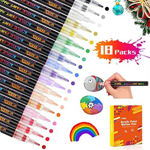 WOTEK Acrílico Pintura Rotulador Punta Fina, 18/0.7mm Colores Rotuladores Acrilicos Permanente, Marcadores para Pintura de DIY Roca, Diseño de Taza, Cerámica, Cristal, Metal, Madera, Tela