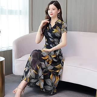 ABDKJAHSDK Summer New Large Size M-3Xl Flower Print V-Neck Short-Sleeved Women'S Long Chiffon Dress