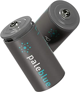 Rechargeable D Batteries with USB Charger by Pale Blue, Lithium Ion 1.5v 5000 mAh, Charges Under 5 Hours, Over 1000 Cycles, 2-in-1 USB to Micro USB Charging Cable, LED Charge Indicator, 2-Pack