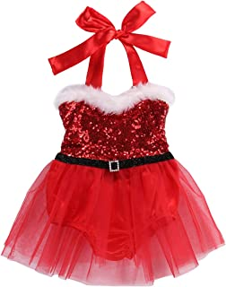 Baby Girls Polka Dot Romper Headband Set for Christmas Birthday Party Photo Prop Dress Up Outfit
