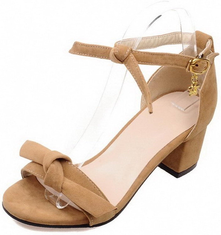 WeenFashion Women's Kitten Heels Frosted Solid Buckle Open Toe Sandals