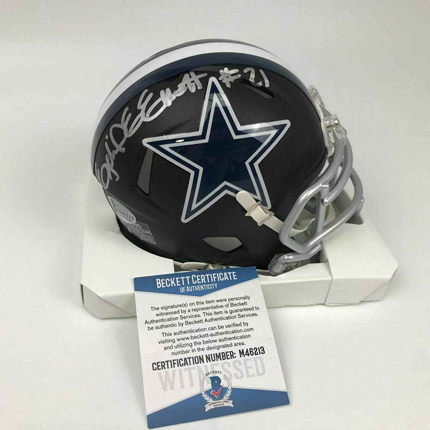 Signed Ezekiel Elliott Mini Helmet  Black Beckett COA  Beckett Authentication  Autographed NFL Mini Helmets