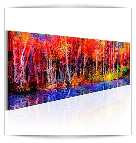 decomonkey Bilder Wald Abstrakt 150x50 cm 1 Teilig Leinwandbilder Bild auf Leinwand Wandbild Kunstdruck Wanddeko Wand Wohnzimmer Wanddekoration Deko Aquarell bunt Wasser Baum Forest