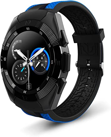 Smart Watch,Wonbo Bluetooth Touchscreen Waterproof Sports Smartwatch, Music Player & Fitness Heart Rate Tracker Sleeping Monitor,Make Call/SNS Notification Watch Compatible with IOS and Android (Blue)
