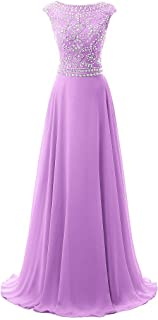 Uther Nice Long Chiffon Bridesmaid Dress Cap Sleeves Beaded Prom Evening Gown