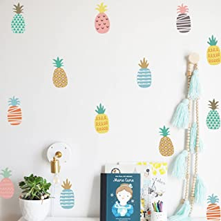 DIY Cartoon Pineapple Decor Wall Stickers Nordic Style Multicolor Children's Room Bedroom Kindergarten Background Layout Home Decoration Stickers A5(5.8x8.2inch)x 12sheets (Pineapple 103)