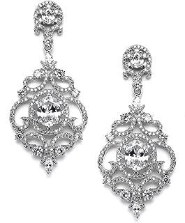 Victorian Scrolls Cubic Zirconia Wedding Bridal & Prom Chandelier Pierced or Clip-On Earrings