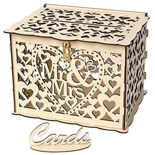 Aeromdale Holz-Hochzeitskarten-Briefkasten mit Schloss und Karte Schild DIY Rustikal Hollow Geschenkkarten-Boxen für Hochzeit Geburtstag Babyparty Party 25*20*18.3cm - Mr & Mrs