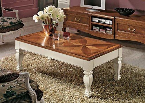 Legno&Design Table rectangulaire marqueterie trèfle avec Plateau relevable