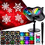 KOOT Christmas Snowflake Lights Projector 2 in 1 Ocean Wave Light with 12 Switchable Patterns Waterproof Outdoor Landscape Light for Celebration Christmas Birthday and Party Holiday Decoration