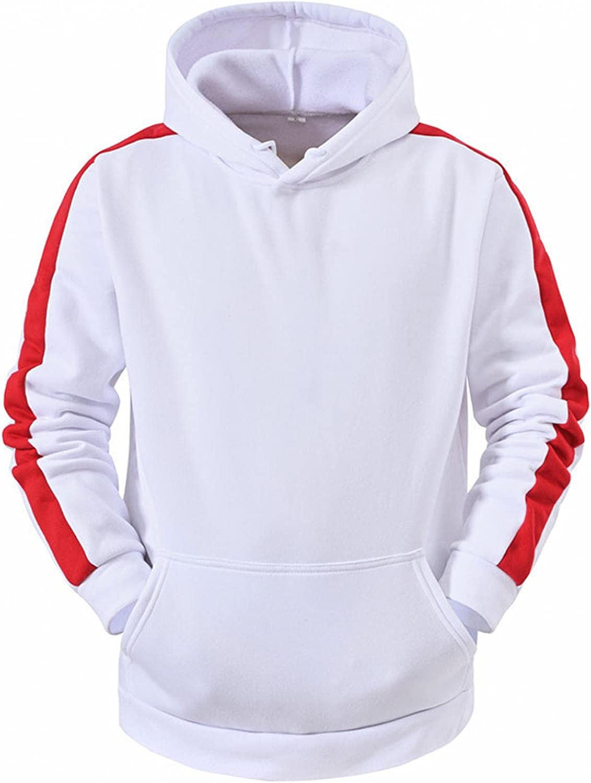 Men's Fashion Hoodies Swaeatshirt Hooded Patchwork Sleeve Long Sleeve Jacket Sweater with Pocket Autumn&Winter