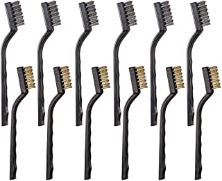 12PCS Mini Wire Brushes, Stainless Steel & Brass Brush Set, Curved Handle Scratch Brush for Automotive, Cleaning Welding Slag and Rust