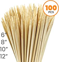 Allcana Natural Bamboo Skewers for BBQ, Fruit Kabob, Appetizer, Grilling, Shish Kabob, Chocolate Fountain, Marshmallows, 3mm, Sizes 6