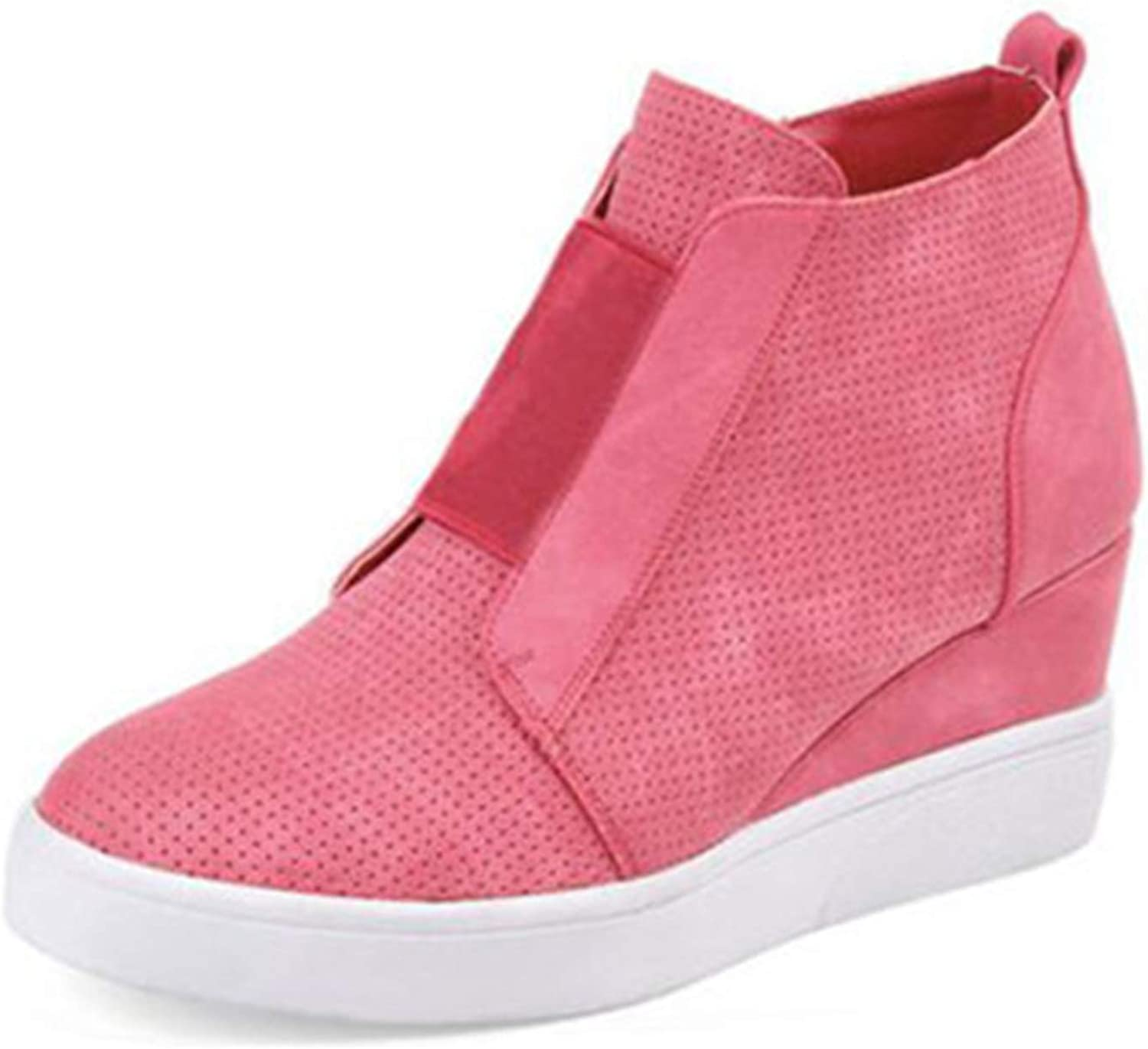 Fashion Women Sneakers Spring Autumn Comfort Side Zip Designer Ankle Boots Pink 6