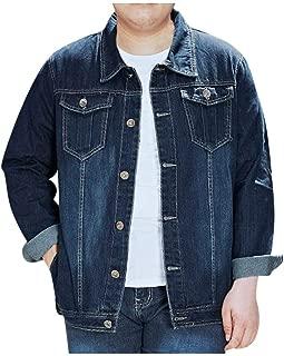Beautyfine Men's Casual Denim Coat Slim Casual Solid Bomber Hole Jeans Motorcycle Cowboy Jacket Plus Size M-8XL