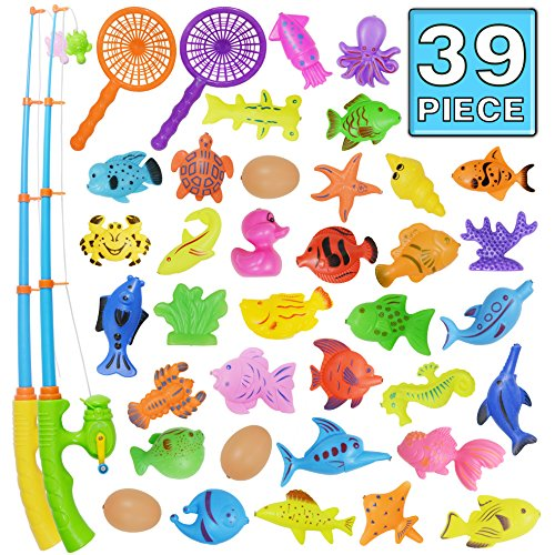 Bath Toy,39 Piece Magnetic Fishing Toy,Original Color Waterproof Floating Fishing Play Set in Bathtub Pool Bathtime Learning Education Toys For Boys Girls Toddlers,Fishing Game For Kids Party Favors