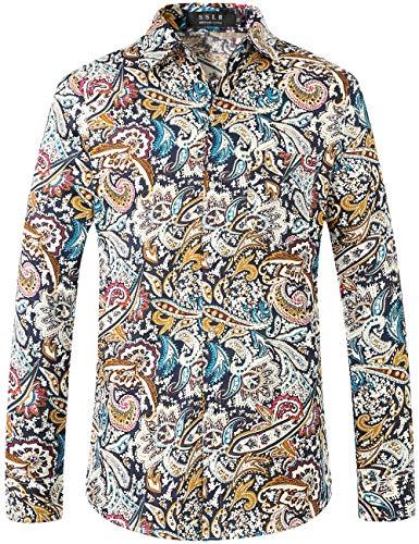 SSLR Herren Hemd Langarm Baumwolle Paisley Bedruckt Freizeithemd Langarmhemd Regular Fit Shirts (Large, Blau(228-3))