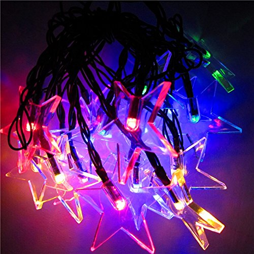 XZB Coloured Solar String Lights,Outdoor Solar Lights 20 LED Lamps Pentagram Holiday Christmas Party Garlands Solar Garden Waterproof Lights