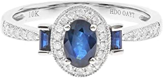 Gin & Grace 10K White Gold Natural Blue Sapphire With Diamond (I1) Statement Ring for Women Jewelry Gifts