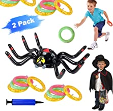 BSZON Halloween Ring Toss Game,Inflatable Spider Floating Swimming Pool Ring Toys with 1 Inflator and 6 Pcs Rings for Kids Halloween Party Favors Indoors Outdoors Party Ring Toss Game 2 Pack
