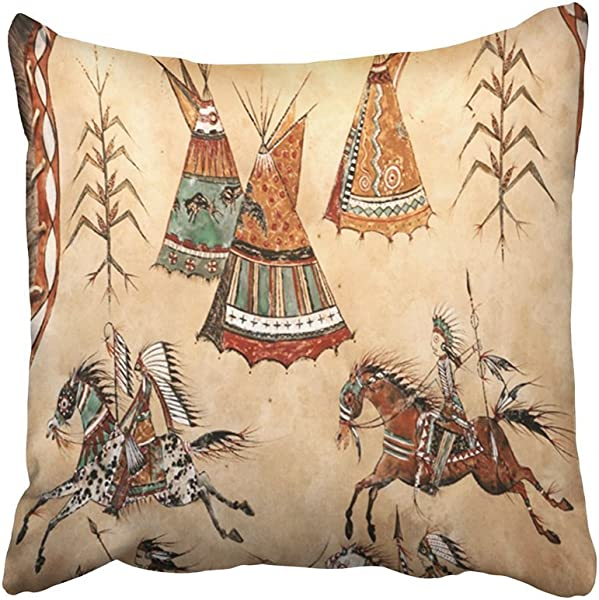 Plbfgfcover Decorative Pillowcases Vintage Tribal Native American Tribal Camp Design Throw Pillow Covers Cases Home Decor Sofa Cushion Cover 18X18In