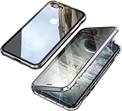 iPhone 7 Case,iPhone 8 Case,360° Full Body,Front and Back of Clear Touchable HD Tempered Glass,with Built-in Screen Protector Magnetic Adsorption Metal Frame Cover Ultra Thin Fit 7/8,Silver