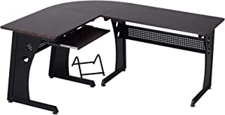 Vinsetto L-Shaped Corner Computer Office Desk, Modern Workstation, Wood Steel, Brown and Black, 65