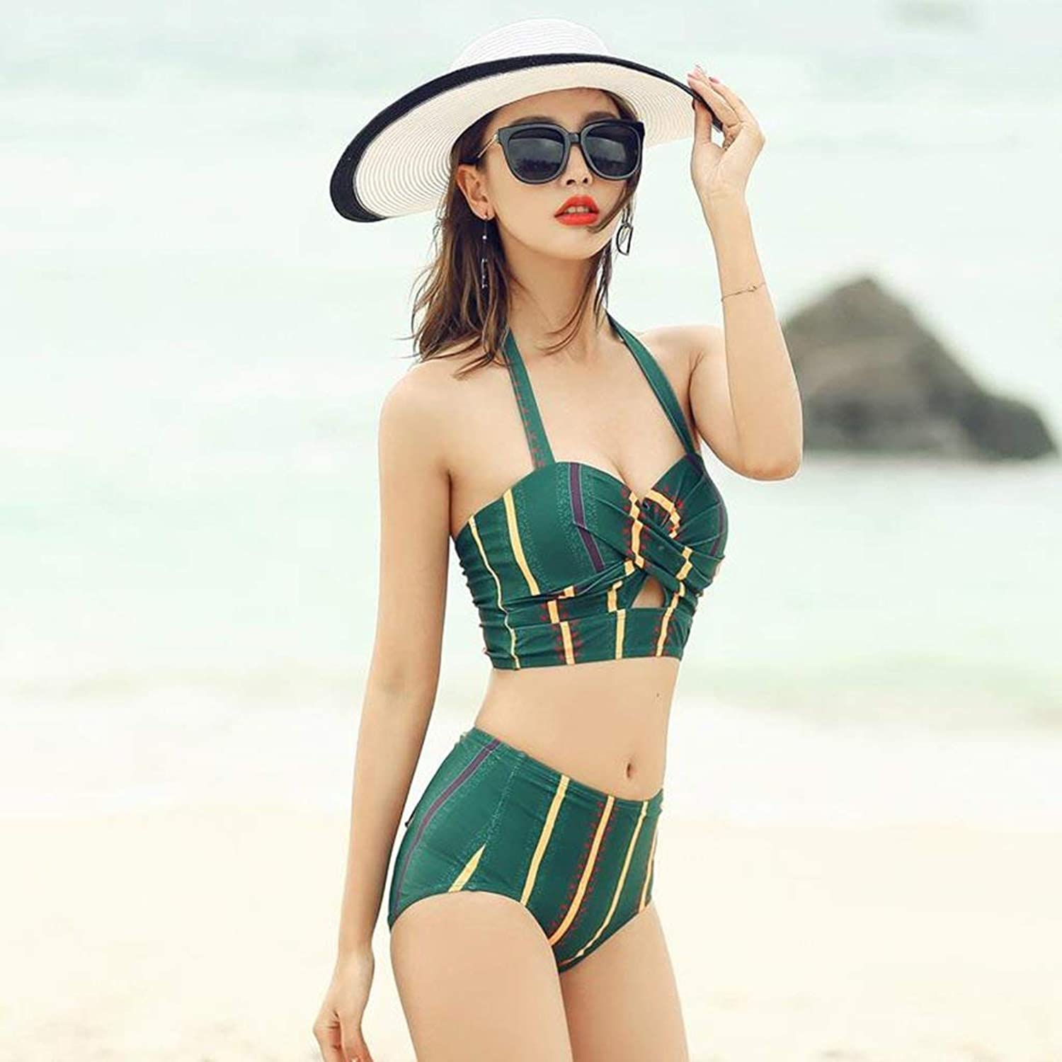 NANIH home Swimwear Women's Swimwear Two-piece Cover belly Sexy BikiniGreen Women Girls Competitive Swimwear (Size   L(50-55 kg))