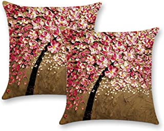 DUSEN Decorative Throw Pillow Covers for Couch, Sofa, or Bed Set of 4 18 x 18 inch Modern Quality Design Cotton Linen Cusion Cover (2pcs Oil Painting Tree)