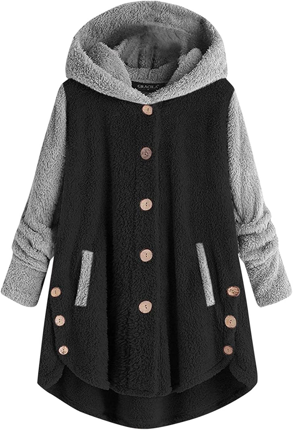Jackets With Hoods for Women Plus Size Button Overcoat Patchworl Tops Hooded Trench Pullover Loose Sweatshirts Outwear