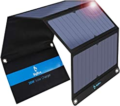 BigBlue 3 USB Ports 28W Solar Charger, 5V Foldable Waterproof Outdoor Solar Battery Charger With SunPower Solar Panel Compatible with iPhone X/8/7/6s, Samsung Galaxy LG etc.