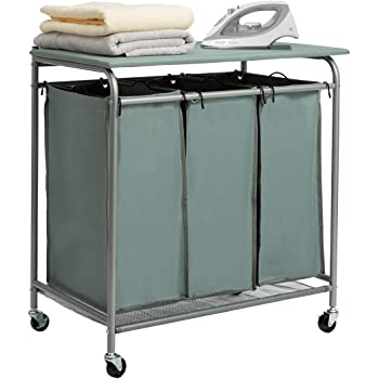 Ironing Board 6705 7885 Bb Whitmor 3 Section Rolling Laundry Sorter With Folding Station Laundry Sorters