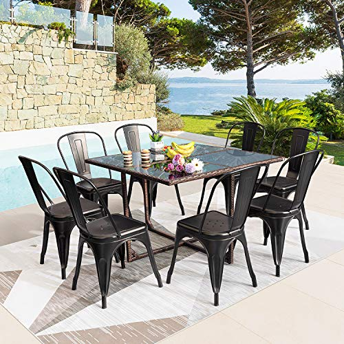 Tuoze 9 Pieces Patio Dining Sets Outdoor Patio Furniture Sets Stackable Metal Chairs with Rattan Glass Table Garden Dining Table and Chairs Set (Black)