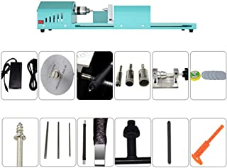 96W DIY Woodworking Lathe, Multifunction Mini Benchtop Lathes with Adjustable Speed Power Adapter 0.6-6Mm Drill Chuck 4000...