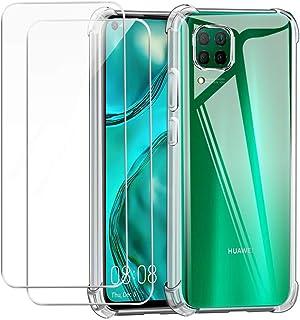 Reshias Funda para Huawei P40 Lite con Dos Cristal Templado Protector de Pantalla,Suave TPU Transparente Gel Silicona Anti...