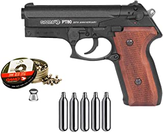 Gamo. Pistola Perdigón PT-80 Cachas de Madera. 4,5mm. +