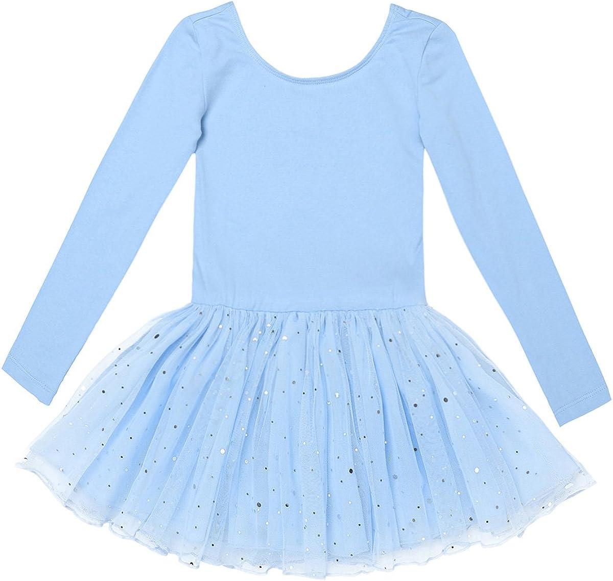 easyforever Kids Girls Long Sleeve Chiffon Ballet Dance Tutu Dress Gymnastic Skating Leotard Skirt Dancing Clothes